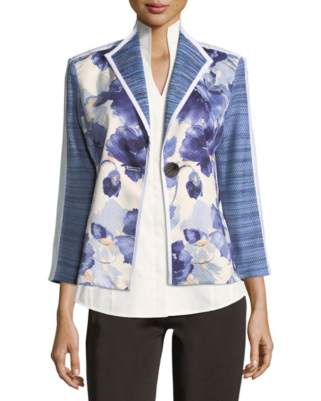 Misook Collection Watercolor Floral Stripe-Sleeve Jacket, Petite