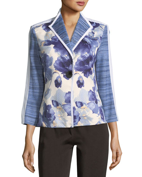 Watercolor Floral Stripe-Sleeve Jacket, Plus Size