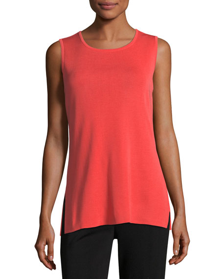 Misook Sleeveless Long Tank, Grapefruit