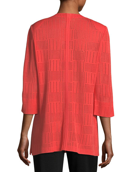 Perforated 3/4-Sleeve Topper Jacket, Plus Size