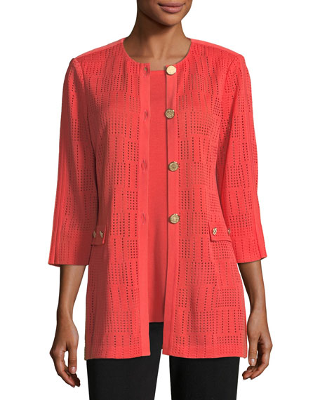Misook Perforated 3/4-Sleeve Topper Jacket, Petite