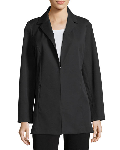 Notch-Lapel Stretch-Cotton Jacket, Petite