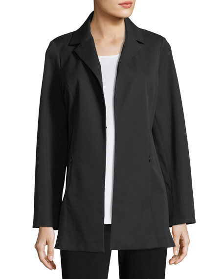 Notch-Lapel Stretch-Cotton Jacket, Petite