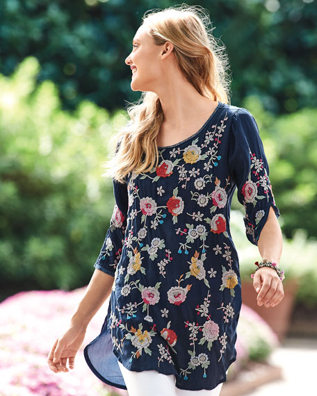 Playa Embroidered Georgette Tunic, Petite