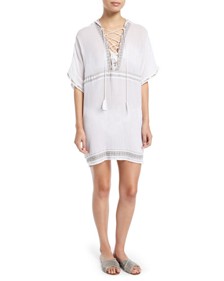 Isabell Lace-Up Embroidered Short Caftan Coverup