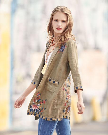 Tivva Heavy Linen Embroidered Coat, Plus Size