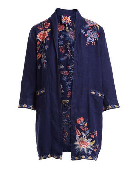 Tivva Heavy Linen Embroidered Coat, Plus Size