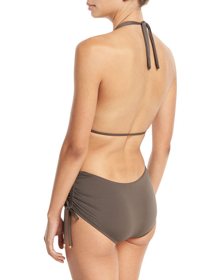 Brena Wildwood Plunge-Neck One-Piece Swimsuit