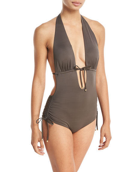 Vitamin A Brena Wildwood Plunge-Neck One-Piece Swimsuit