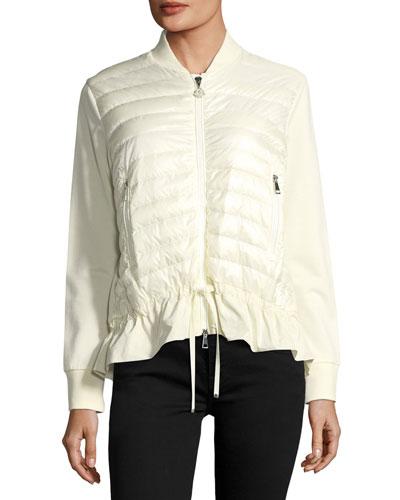 Maglia Knit Puffer Combo Jacket w/ Peplum Hem