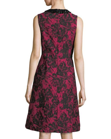 Embellished-Neck Sleeveless Cocktail Sheath Dress
