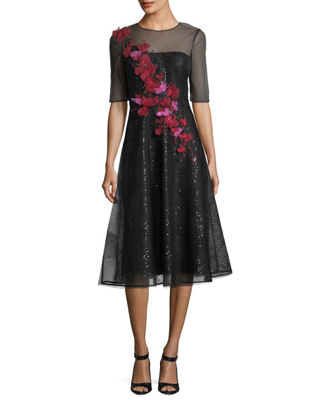 RICKIE FREEMAN FOR TERI JON Sheer 3D Floral Sequin A-Line Cocktail Dress in Black Multi
