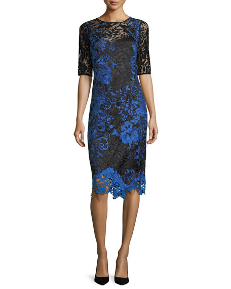 Rickie Freeman for Teri Jon Half-Sleeve Two-Tone Lace