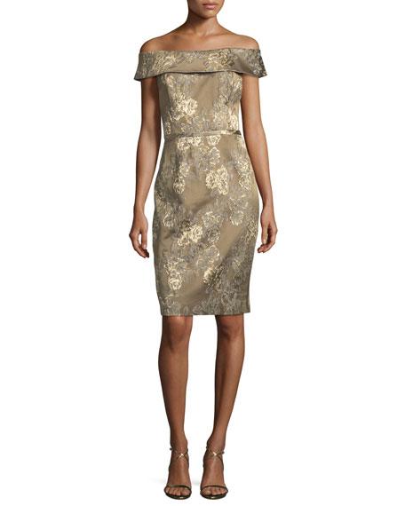 Off-the-Shoulder Floral Stretch Jacquard Cocktail Dress