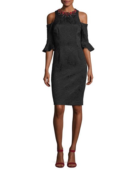 Jacquard Cold-Shoulder Embellished Cocktail Dress