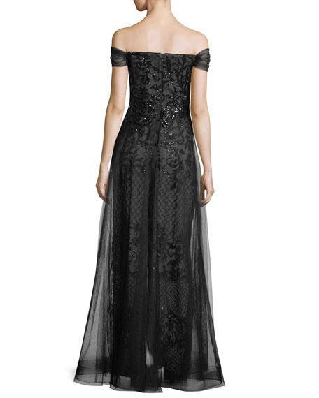 Sequin Underlay Off-the-Shoulder Gown