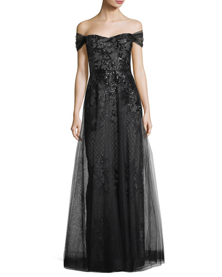 Sequin Underlay Off-the-Shoulder Gown