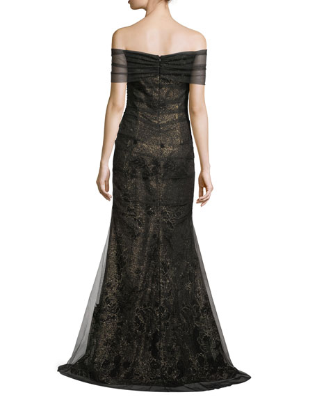 Metallic Lace Off-the-Shoulder Mermaid Evening Gown