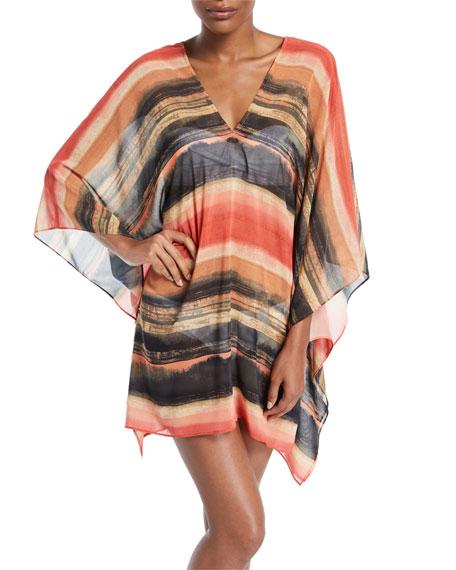Carmen Marc Valvo Pacific Sunset Kimono-Sleeve Printed Chiffon