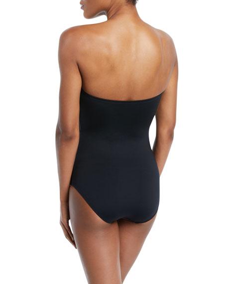 Coastal Twist-Side Bandeau One-Piece Swimsuit