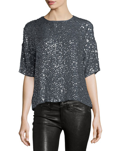 Lynne Half-Sleeve Sequin Top