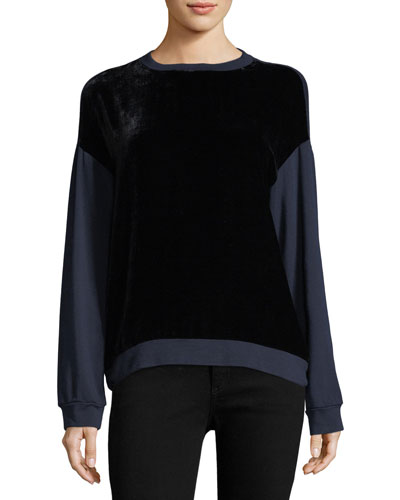 Carey Crewneck Velour Sweatshirt