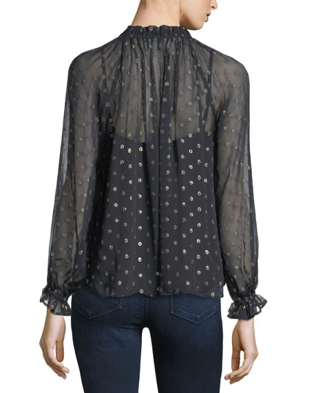Jorie High-Neck Long-Sleeve Metallic Chiffon Top
