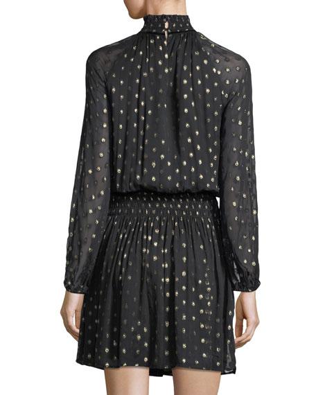 Verna Mock-Neck Long-Sleeve Metallic Short Dress