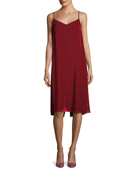 Jana V-Neck Velvet Midi Slip Dress