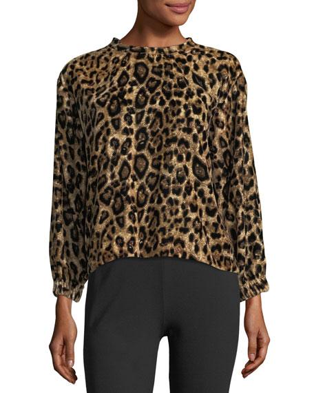 Moselle Leopard-Print Velvet Sweatshirt