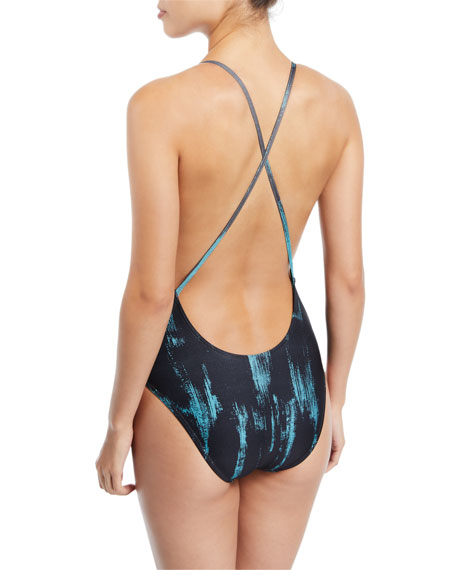Plunging Printed One-Piece Swimsuit