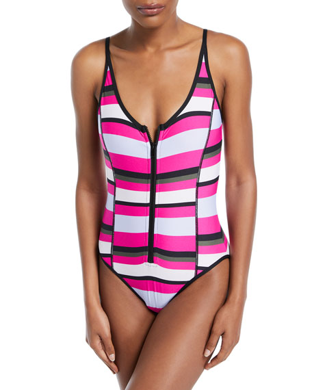 Zip-Front Striped One-Piece Swimsuit