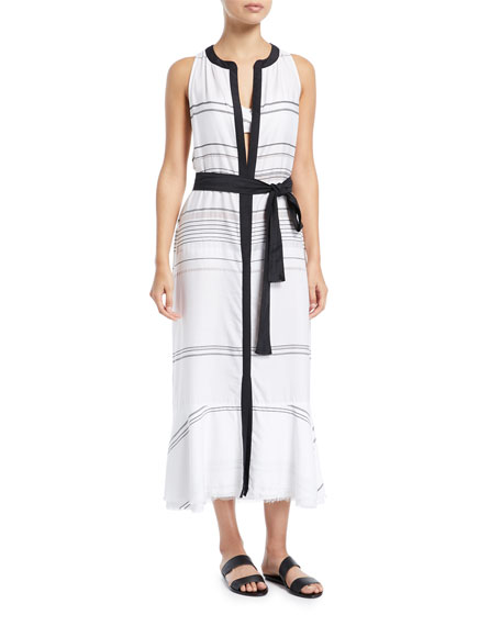Proenza Schouler Sleeveless Long Striped Cotton-Voile Coverup