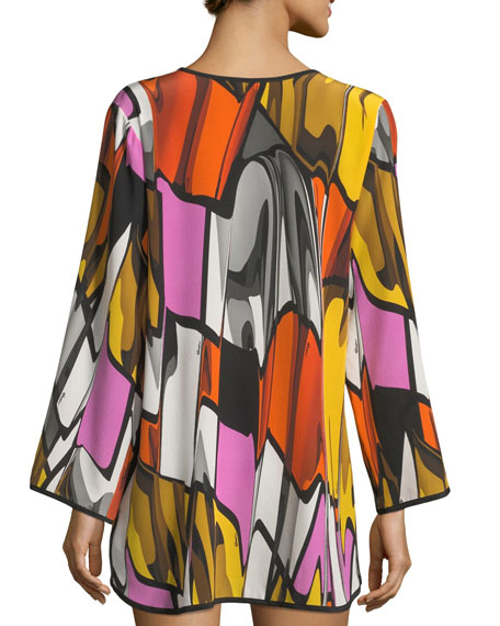 Picasso Deep-V Long-Sleeve Printed Coverup Tunic