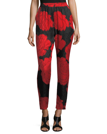 Rose-Print Silk Jacquard Pants