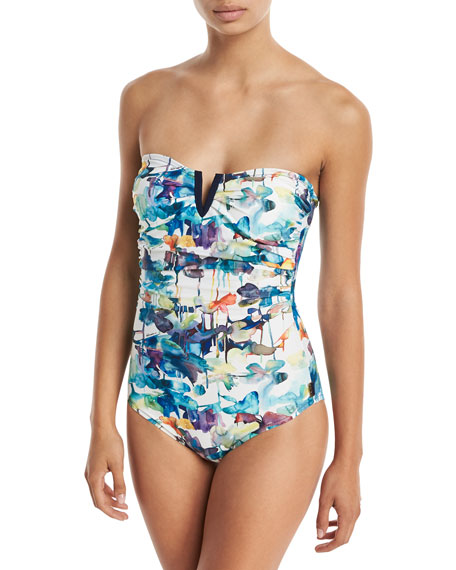 Lily-Rose Bandeau Notched One-Piece Swimsuit