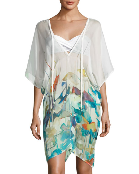 Shan Lily V-Neck Watercolor-Print Poncho Coverup