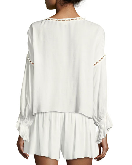 V-Neck Long-Sleeve Studded Crepe Top