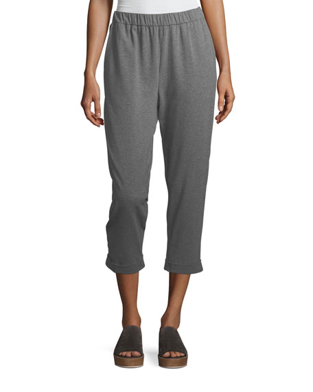 Eileen Fisher Heathered Stretch Jersey Slouchy Cropped Pants,