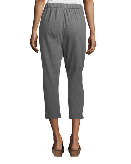 Heathered Stretch Jersey Slouchy Cropped Pants, Plus Size