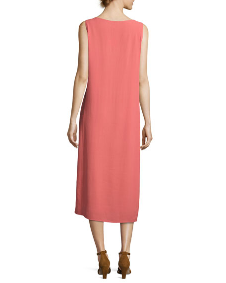 Silk Georgette Crepe Midi Tank Dress, Plus Size