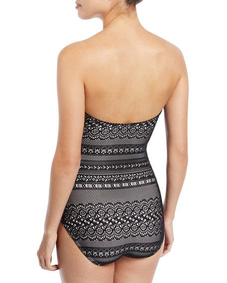 point loma cutout crochet one-piece swimsuit