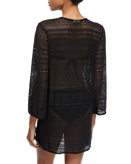 point loma v-neck crochet lace coverup tunic