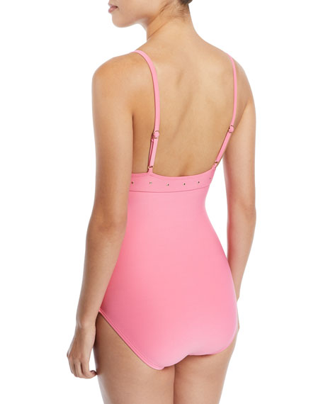 morro bay scalloped v-neck one-piece swimsuit