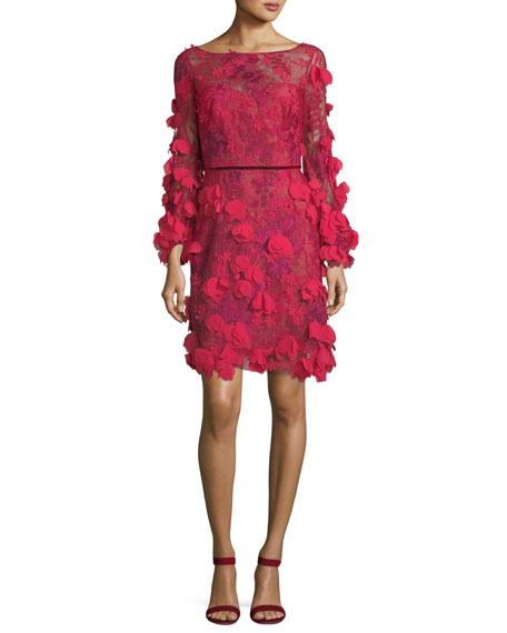 Marchesa Notte 3D Floral Long-Sleeve Cocktail Dress