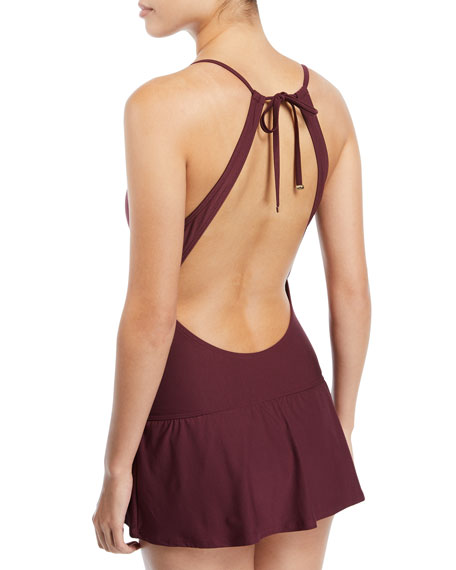 crescent bay high-neck plunge keyhole swimdress