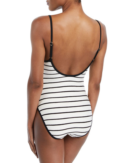 stinson beach bathing beauty striped one-piece swimsuit