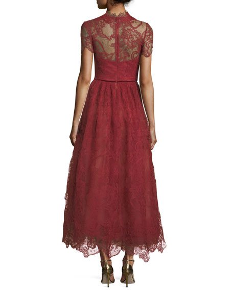 Short-Sleeve Lace Appliqué Tea-Length Dress