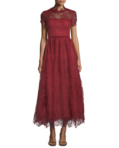 Marchesa Notte Short-Sleeve Lace Appliqué Tea-Length Dress