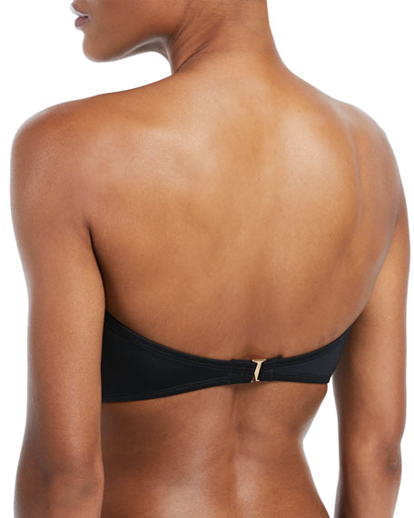 bow bandeau solid swim top